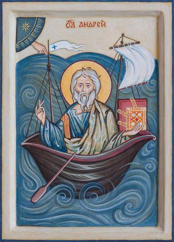 Der heilige Apostel Andreas der Erstberufene reist auf die Krim - moderne Ikone im Stil einer romanischen Buchmalerei.
