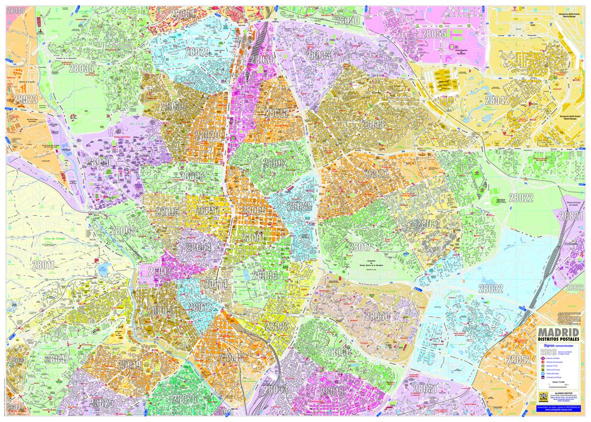 Mapa Codigos Postales Madrid.Madrid Distritos Postales