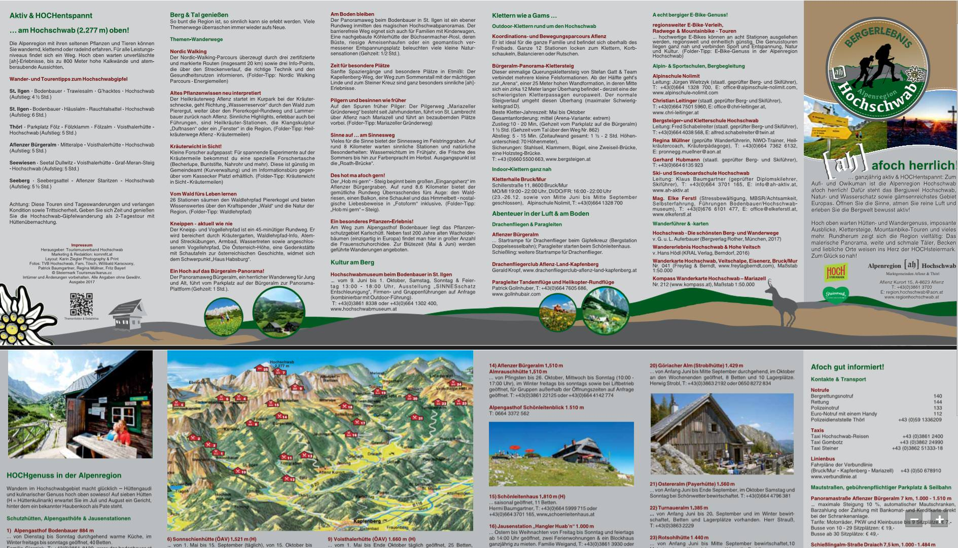 Folderkonzeption, Pressearbeit und Marketing: Tourismusverband Alpenregion Hochschwab   [ah! afoch herrlich!)