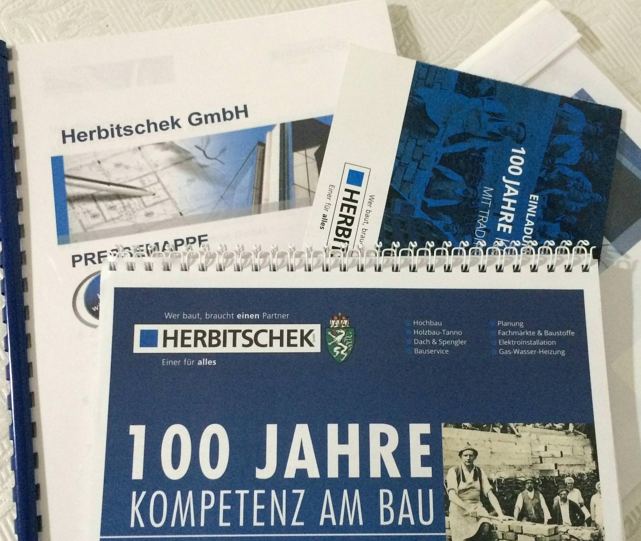 100 Jahre Kompetenz am Bau: begleitende Projektarbeit online & offline,  Regieplan Jubiläumsfeier, Reden, PR für das Jubiläumsjahr der Herbitschek GmbH