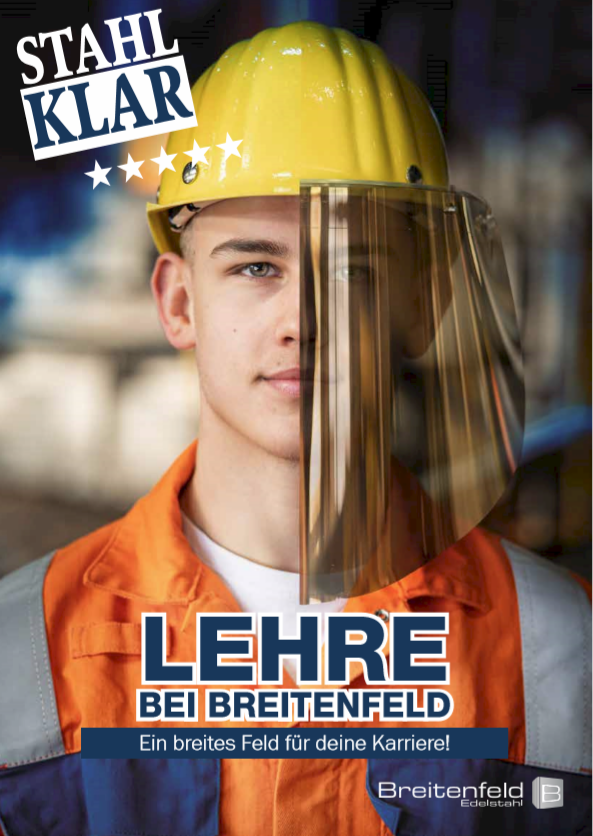 "Ausbildungskonzept vom 1. bis ins 4. Lehrjahr. Marke ""Stahlklar"": Breitenfeld Edelstahl AG (Design Sandra Cresnar)"