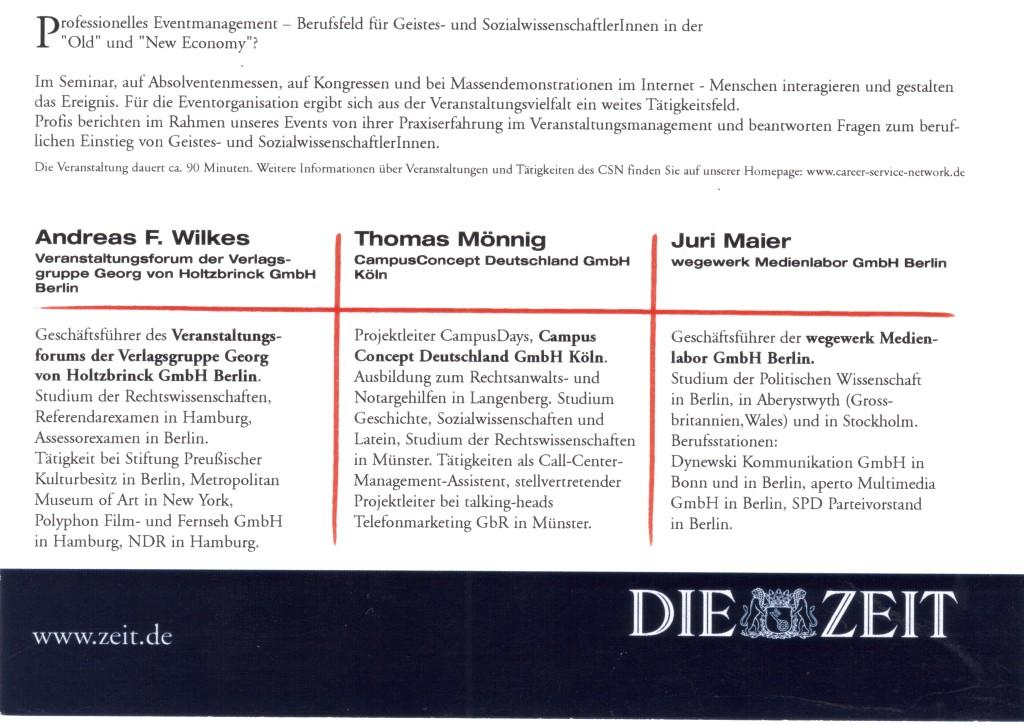 Geisteswissenschaftler im Eventmanagement: Veranstaltungsorganisation & Moderation, CSN Berlin