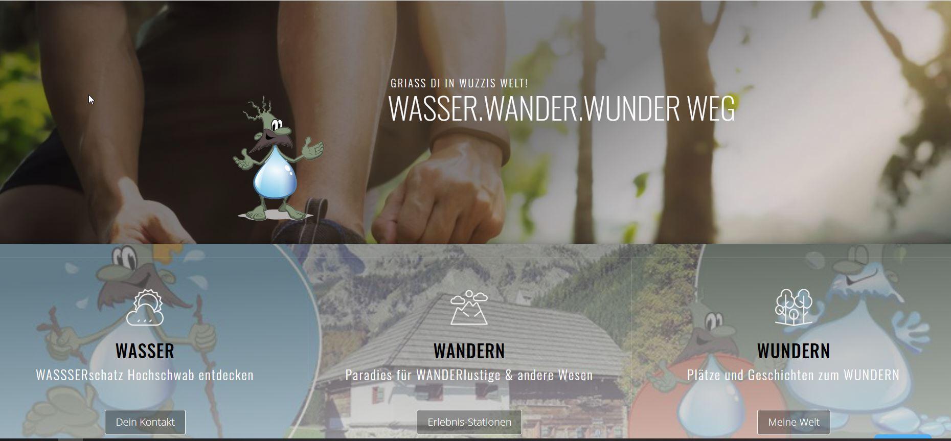 Website für den Wasser-Wander-Wunder-Weg; ZWHS GmbH / Holding Graz