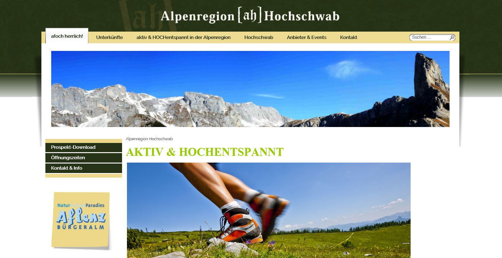 Neupositionierung, neues Wording: Website TV Hochschwab   [ah, afoch herrlich, aktiv & hochentspannt]
