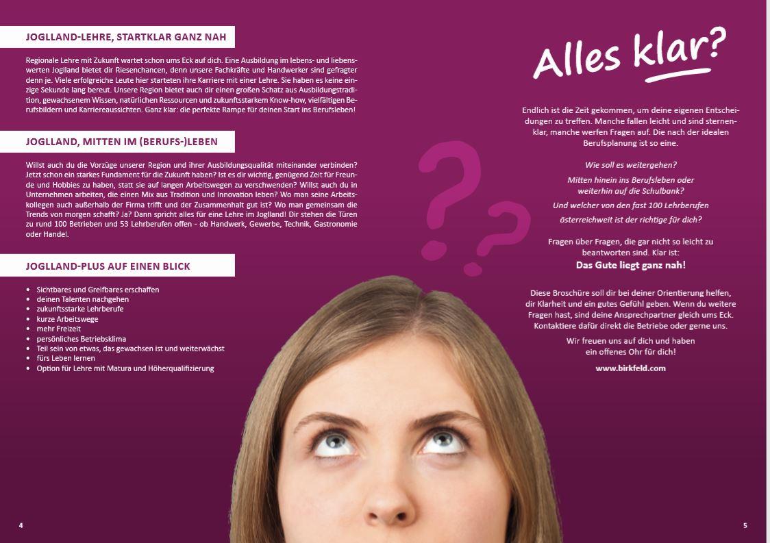 Konzeption/Text Lehrlingsbroschüre Joglland