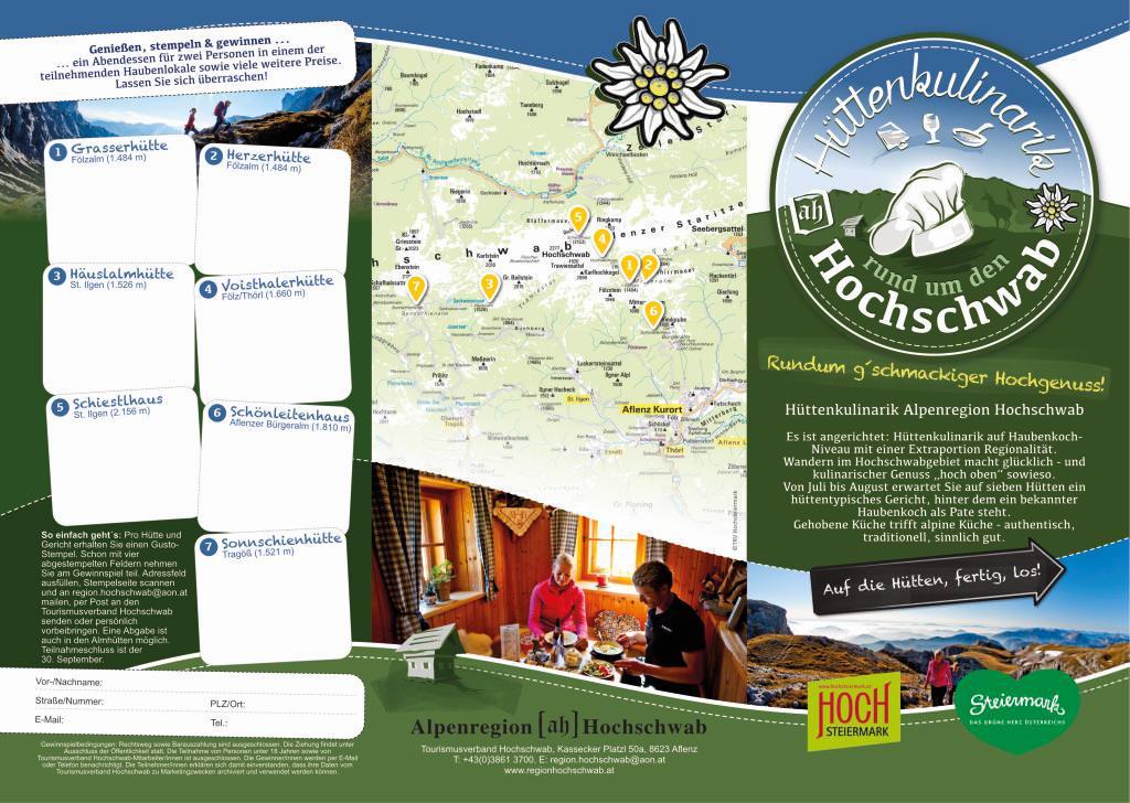 Hüttenkulinarik vom Feinsten professionell begleitet: Pressearbeit, Folder, Tourismusverband Alpenregion Hochschwab