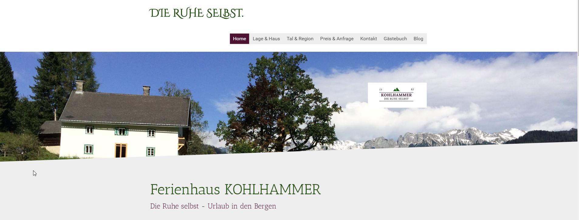 Marke, Text und Website-Coaching: Ferienhaus Kohlhammer [Die Ruhe selbst]
