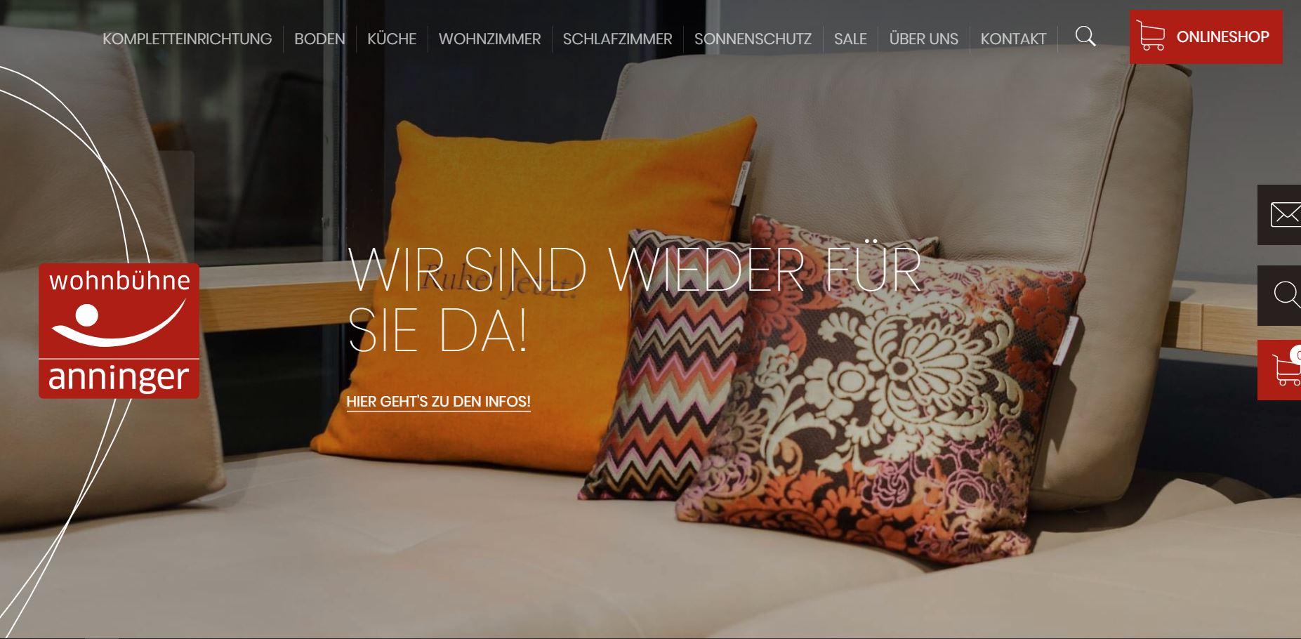 Beratung, Wording, Markenschärfung: WESEO Website, Webshop Wohnbühne Anninger