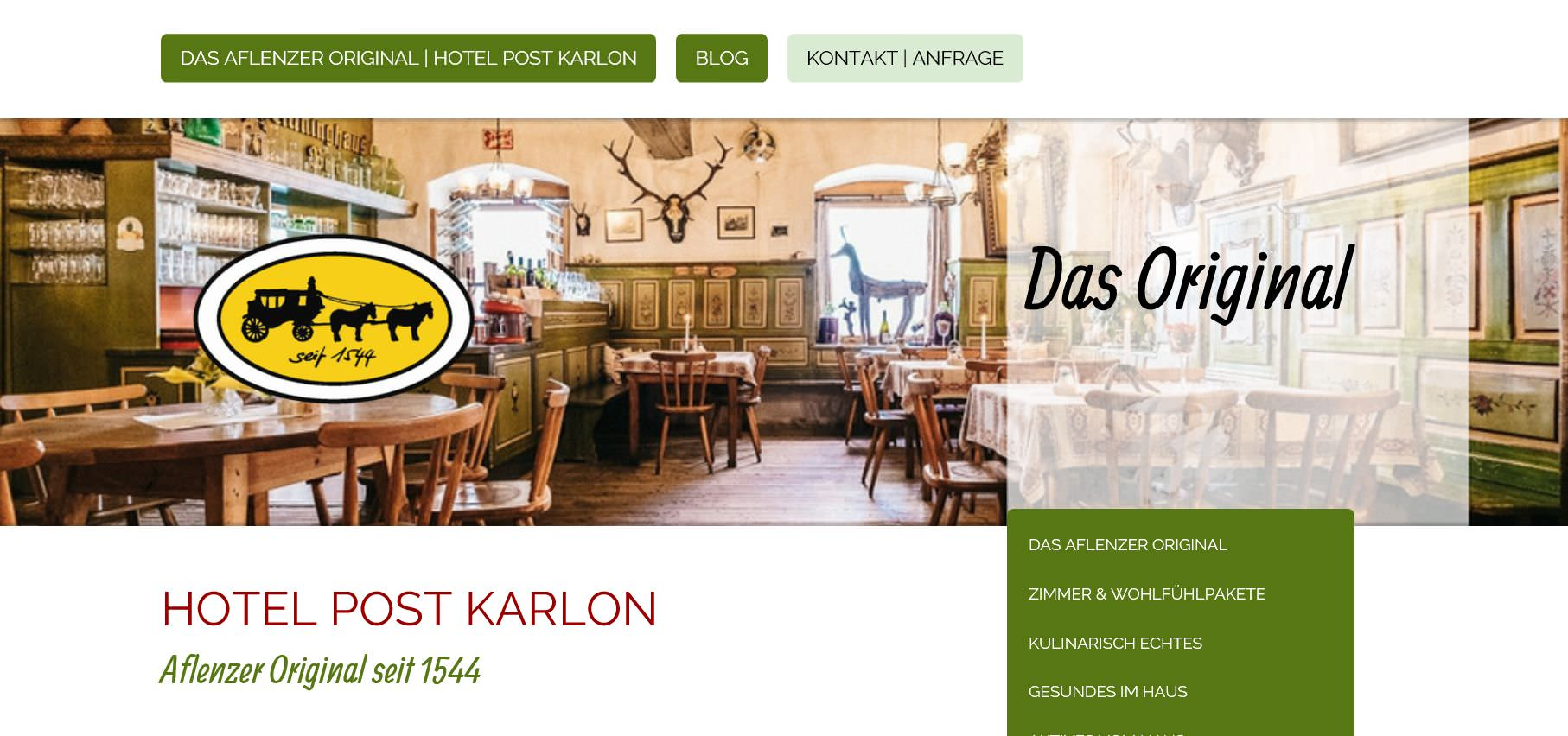 Neupositionierung, Design, Text, Website: Hotel Post Karlon [DAS Aflenzer Original]