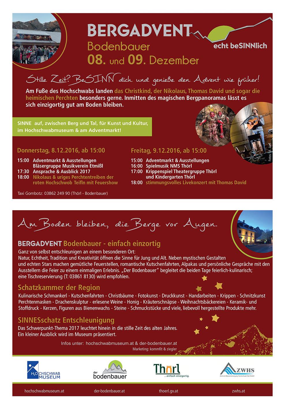 Tourismusprojekt als Besuchermagnet:  Full Service online & offline, Bergadvent Bodenbauer
