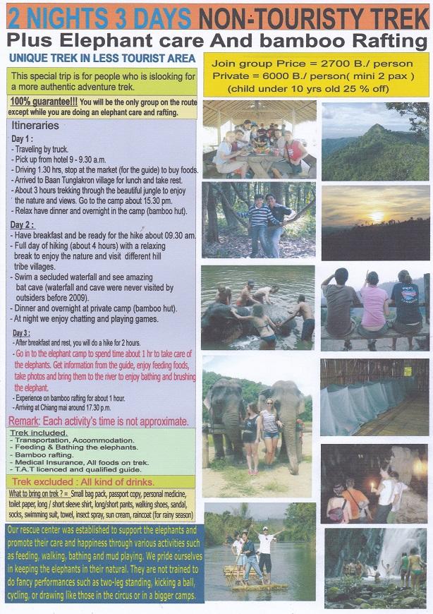 3day Non Touristic Trek+Elephant Care+Bamboo Rafting