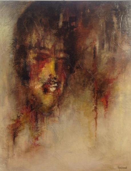 """""""Traumatisme"""" Acrylique sur toile 100x80 cm"""