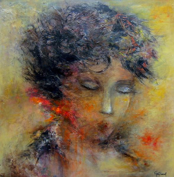 """""""Elle"""" Acrylique sur toile 60x60 cm"""
