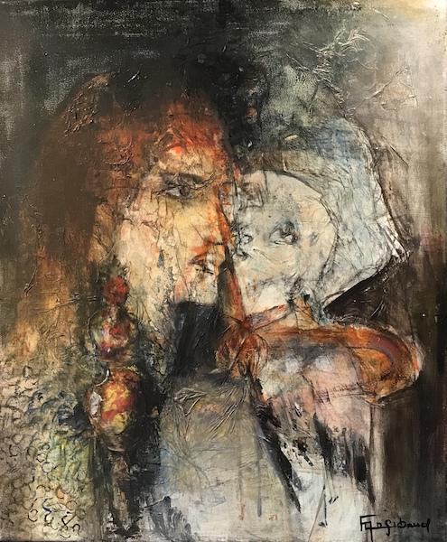 """""""Amour"""" Acrylique sur toile 46x55 cm"""