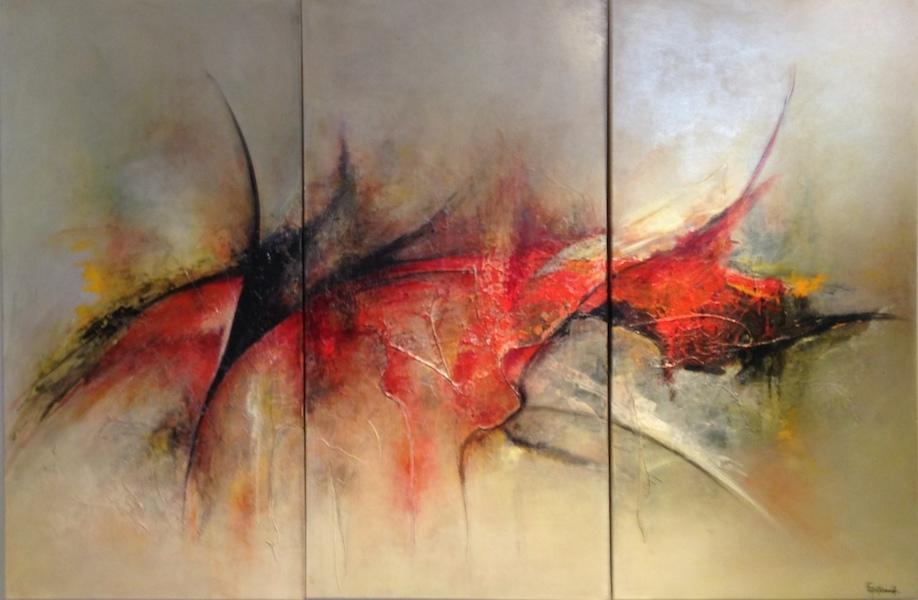 Acrylique sur toile Triptyque 100x50 cm x 3