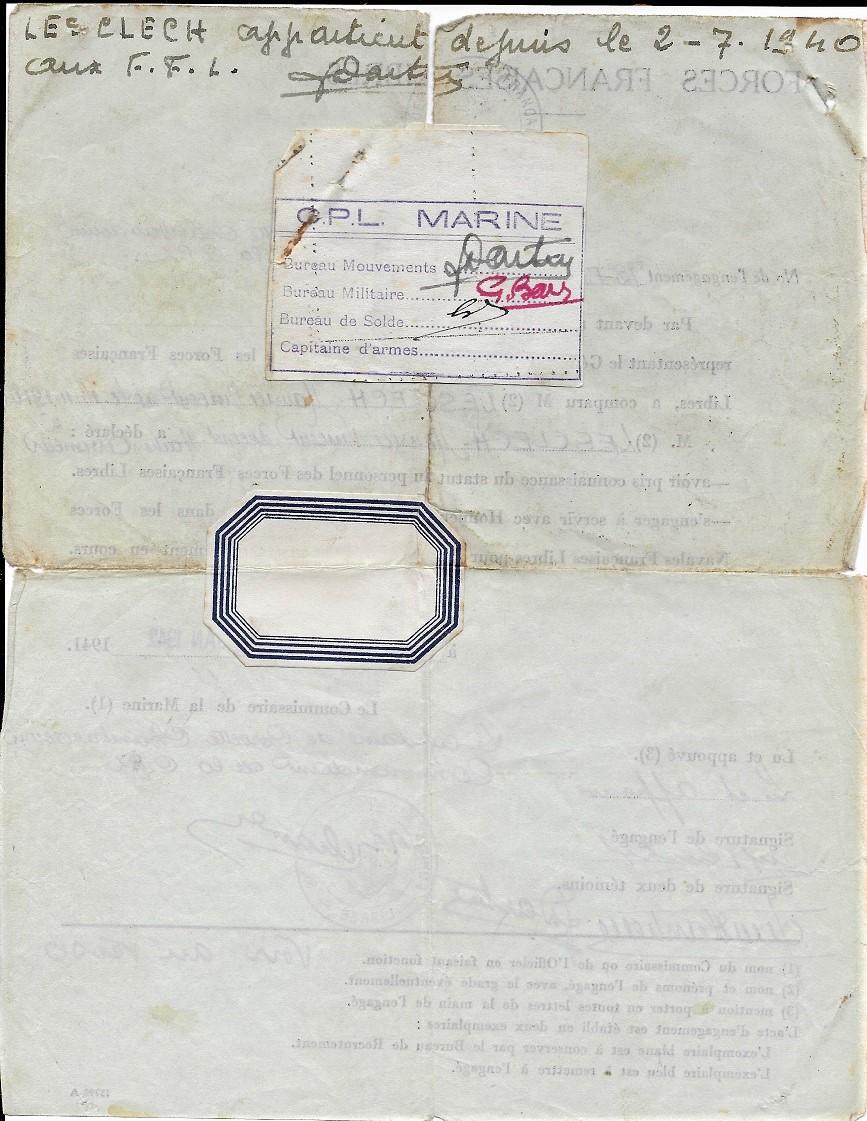 Verso de son acte d'engagement dans les FFL - Copyright Jacques Lesclech
