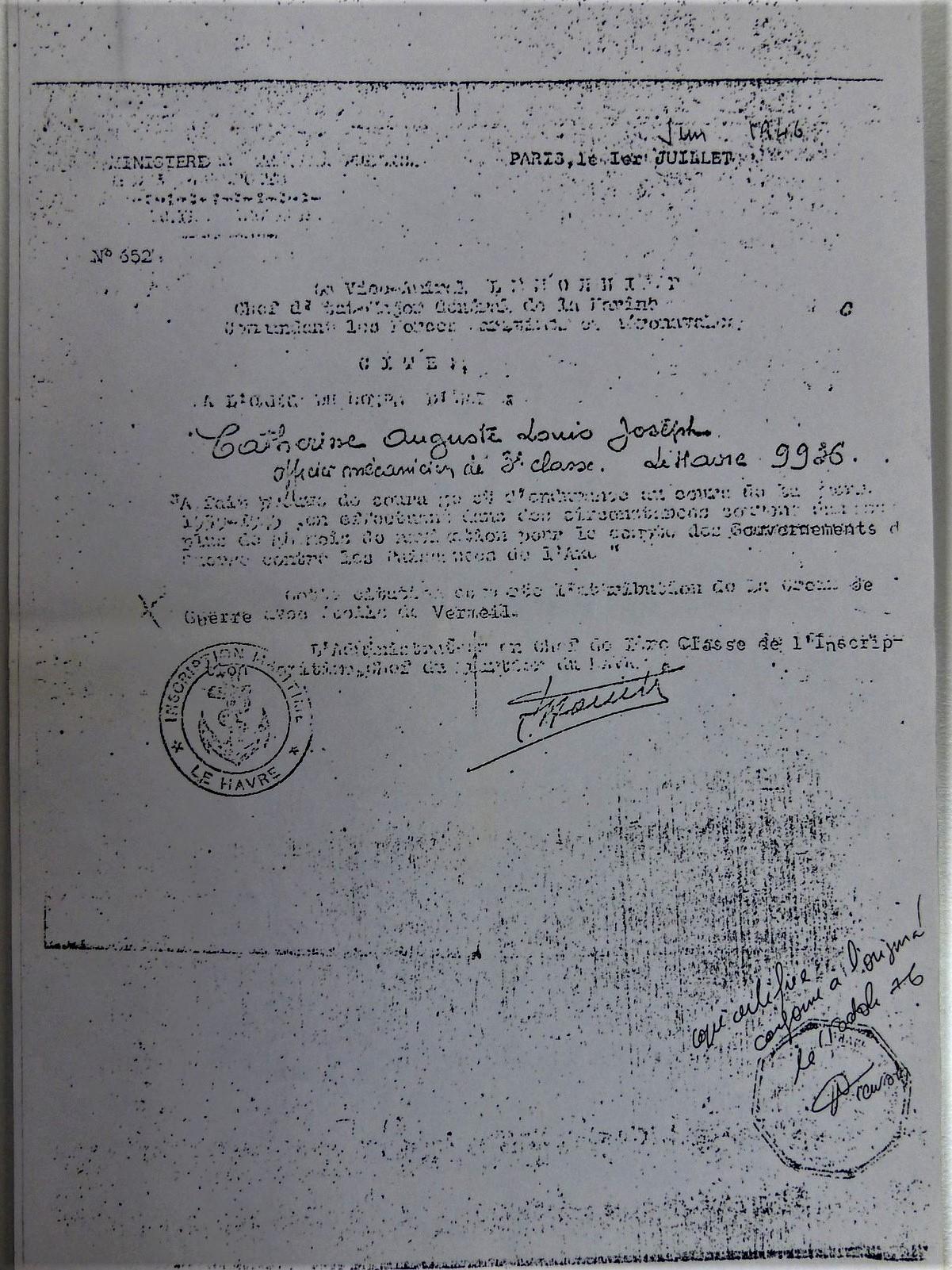 Certfication du Cdt Vuillemin pour la période du Capo Olmo CP : Souvenir des Marins de la France Libre