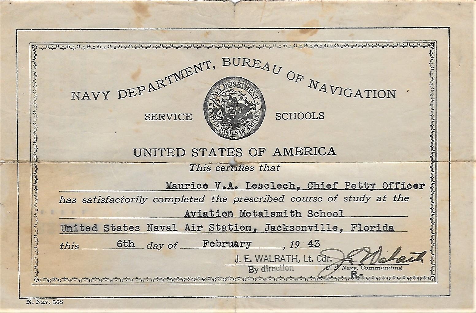 6 février 1943 - Certificat du stage de Maurice Lesclech aux USA- Copyright Jacques Lesclech