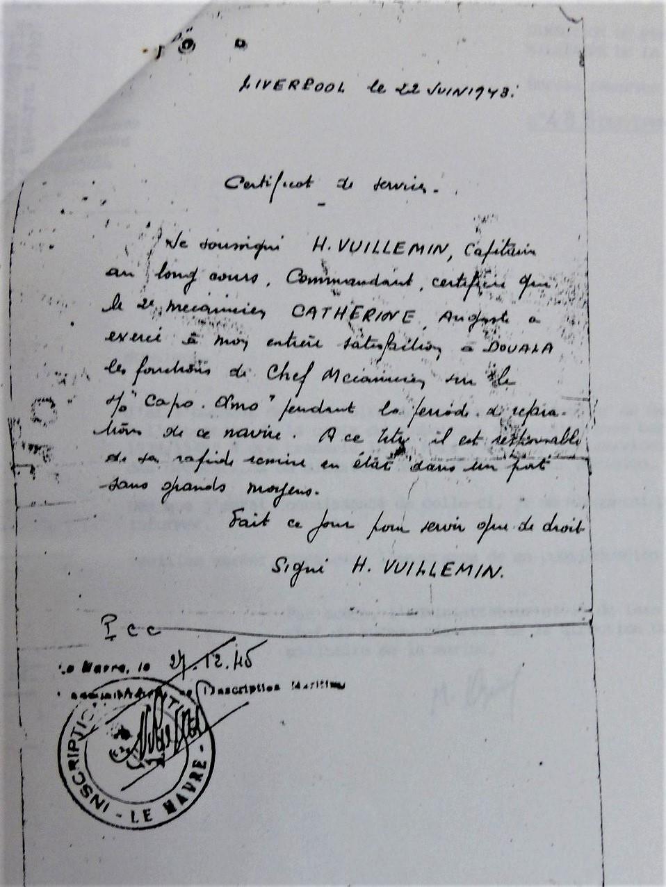 Citation de Auguste Catherine (croix de guerre étoile vermeil) CP : Souvenir des Marins de la France Libre