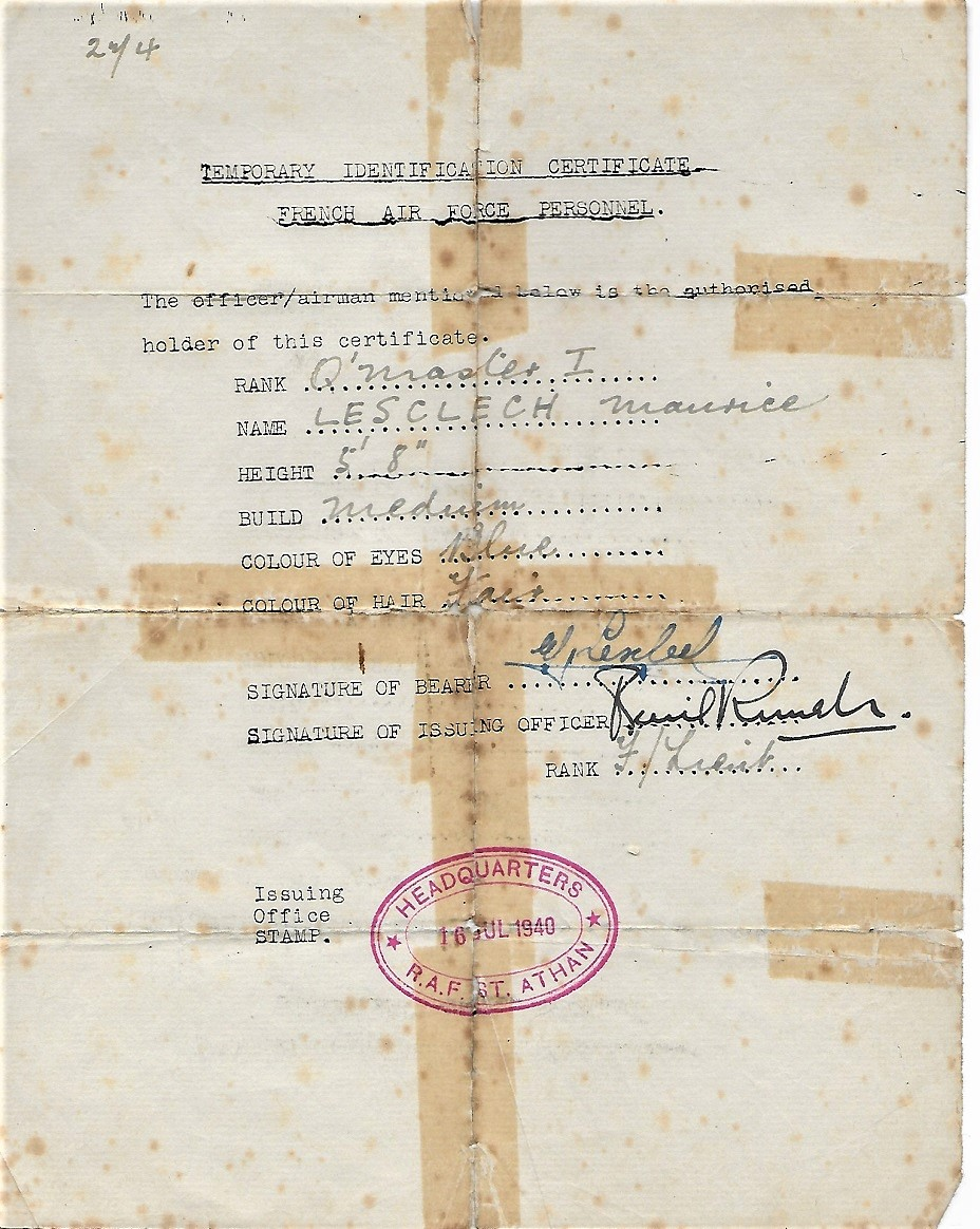 16 Juillet 1940 - Temporary identification certificate French Air Force Personnel - Copyright Jacques Lesclech