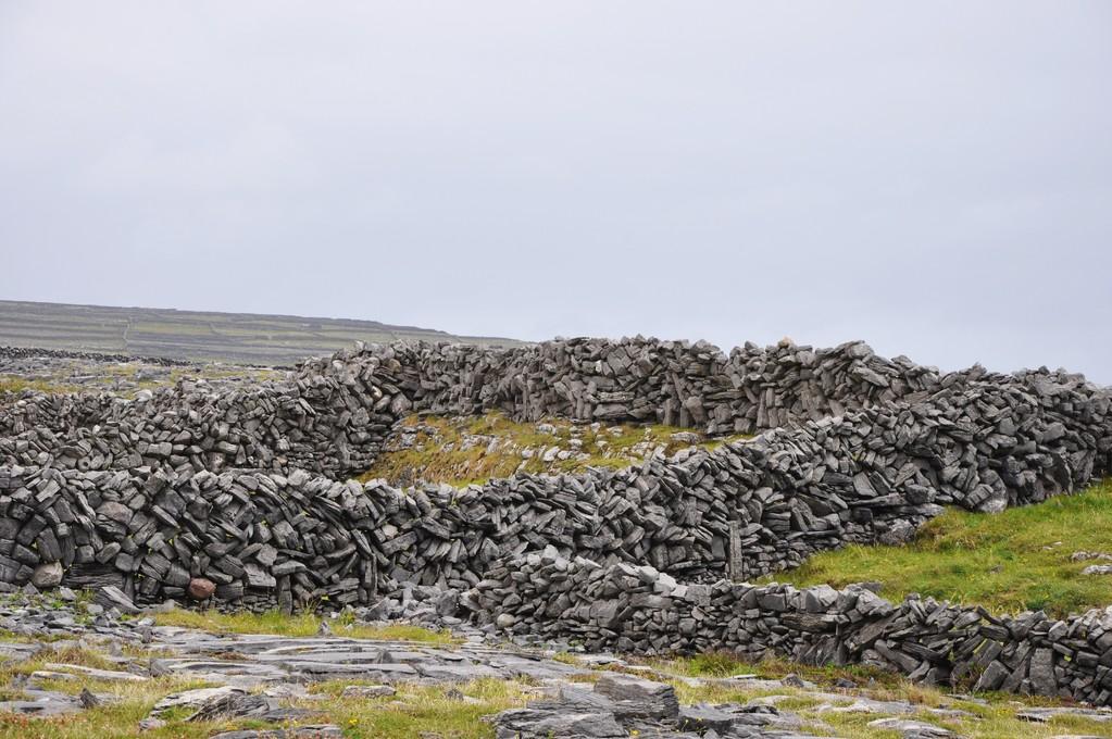 Murets de pierre quadrillant l'île