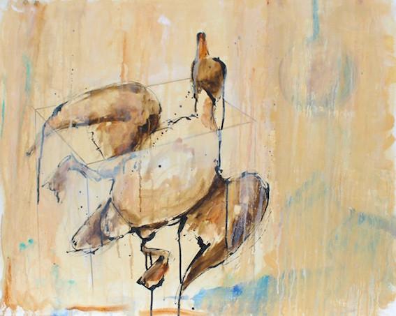 Acryl/Öl/Tusche auf Leinwand, 60 x 80 cm
