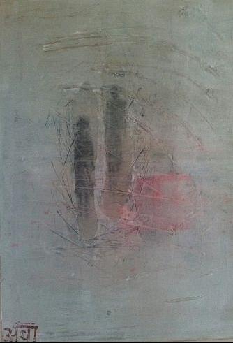 """""""Zwei im Nebel""""; Acryl und Chin. Glückspapier auf Leinwand; 60 x 80 cm; Verkauft"""