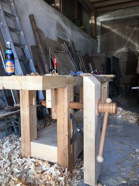 Beinschraubstock mit Holzgewindespindel und selbstgebauter Schere