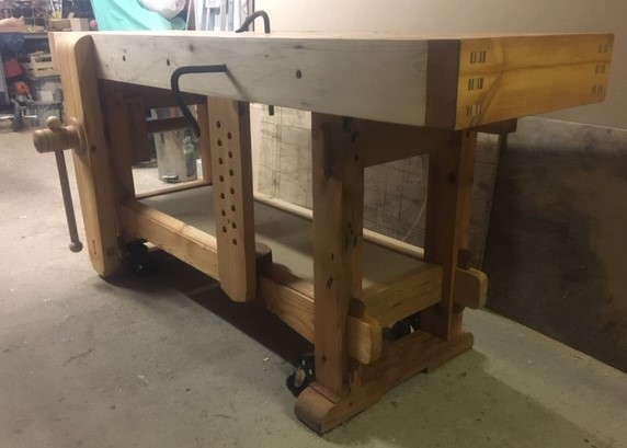 Samurai Carpenter Workbench with wooden vise screw, made by Joe