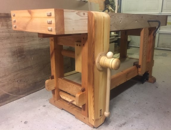 Samurai Carpenter Workbench with wooden vice screw, interpretation by Joe