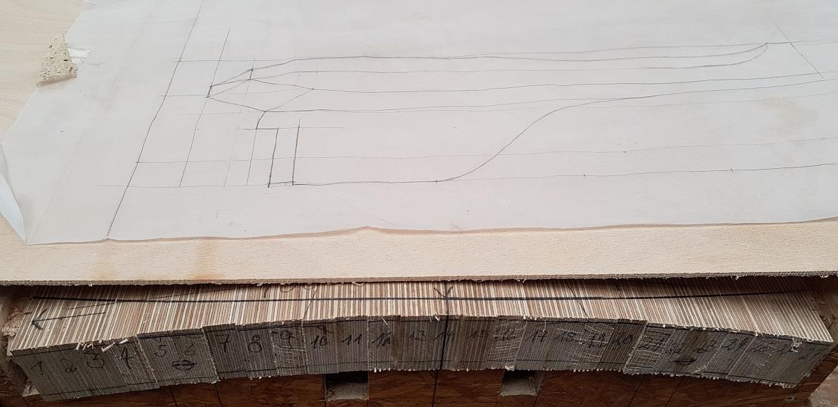 Die Skizze des Sitzprofils.