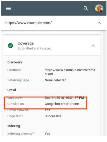 Проверка индексации страницы при помощи Smartphone Googlebot