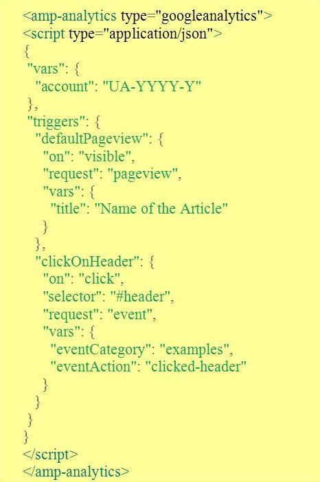 "Настройка аналитики на AMP-страницах. Триггер ""click On Header"""