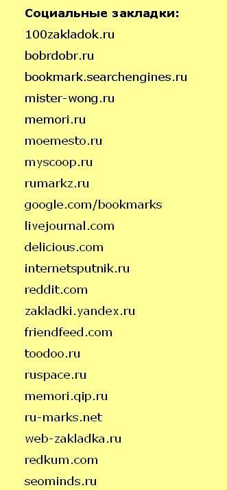 Социальные закладки. Список