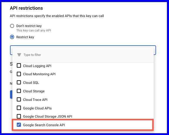 Настройка ограничений API Google Search Console