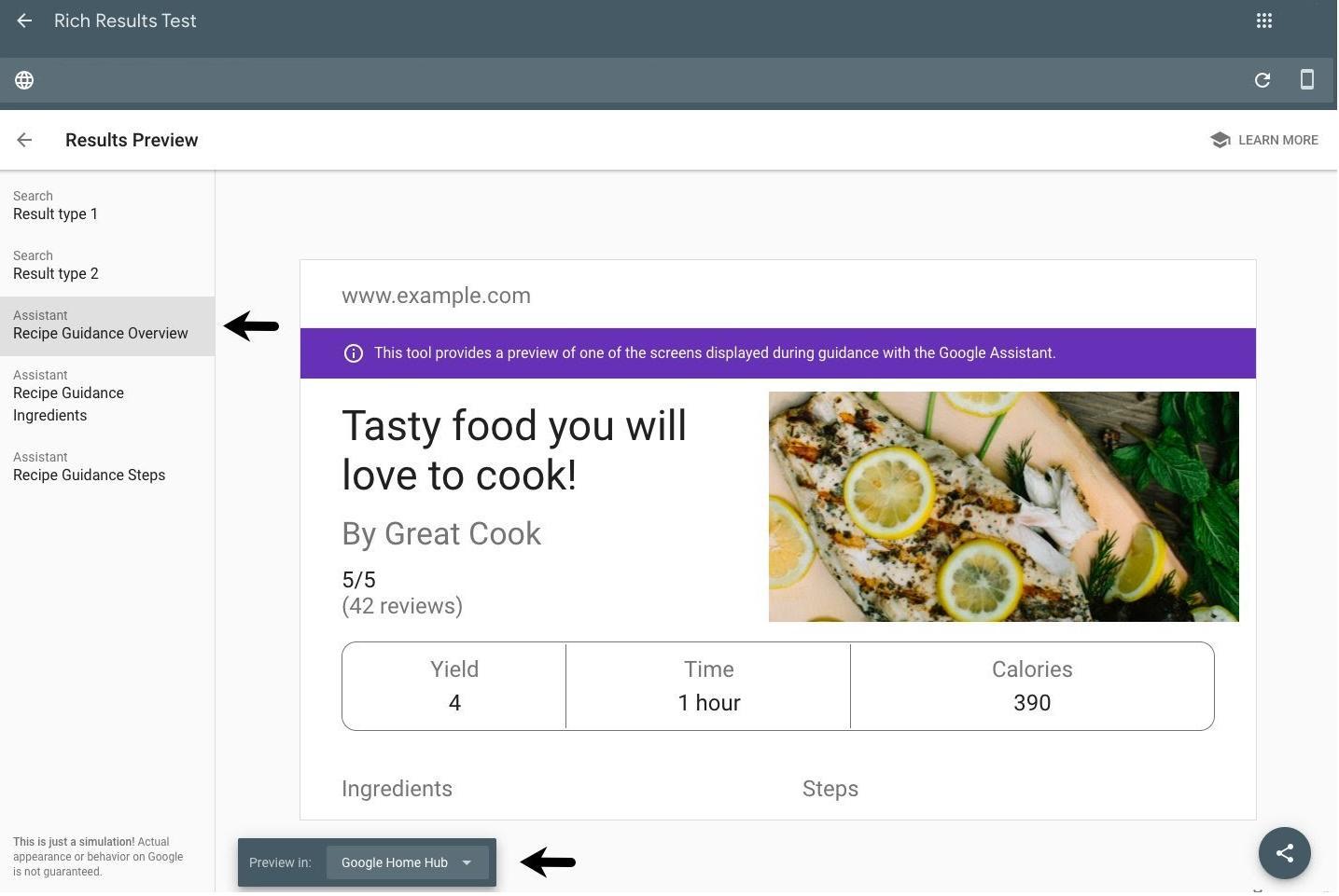Предварительный просмотр Guided Recipe в Rich Results Test