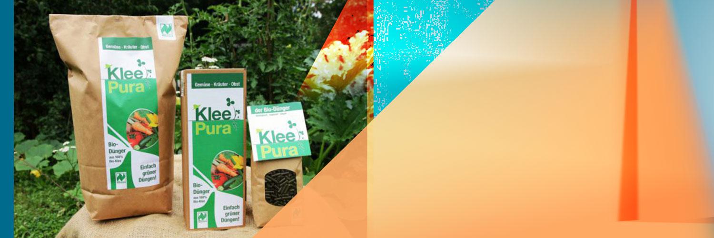 Logo, Flyer und Verpackungsdesign für gründerdüngen und den ökologische Biodünger KleePura
