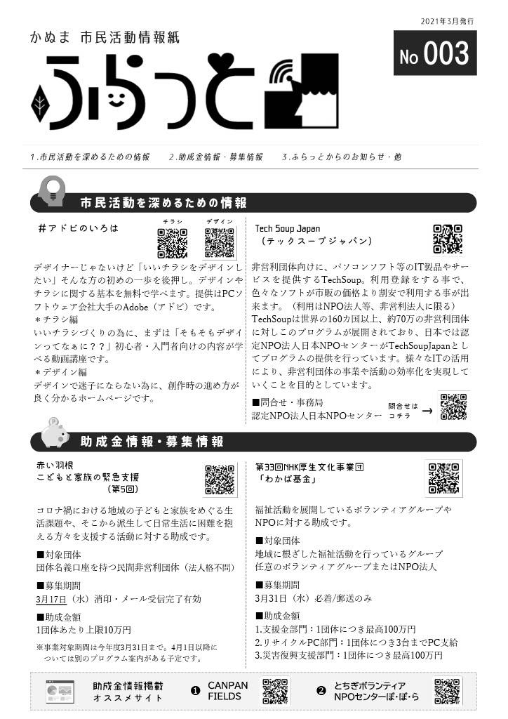 かぬま市民活動情報紙ふらっとNo.003