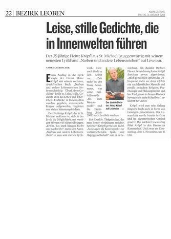 Kleine Zeitung Leoben 31.10.2003
