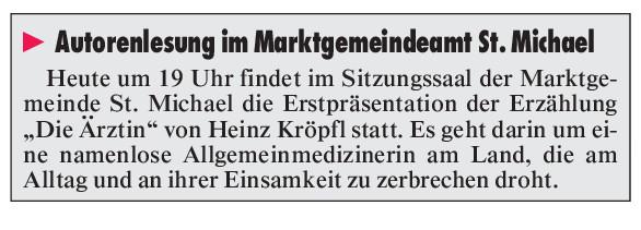 Lesung Erstpräsentation Heinz Kröpfl Die Ärztin St. Michael in Obersteiermark