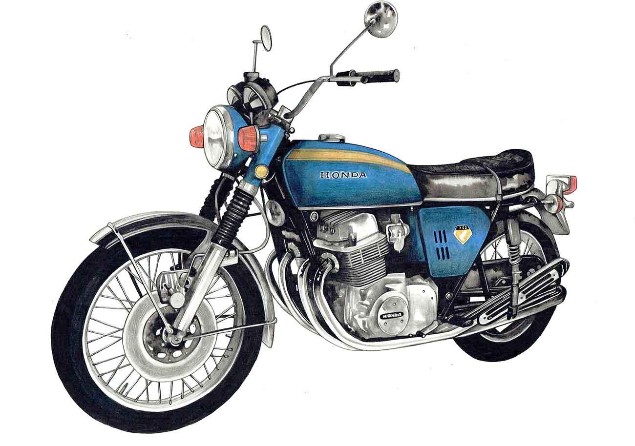CB750Fourの車バイク絵イラストアート