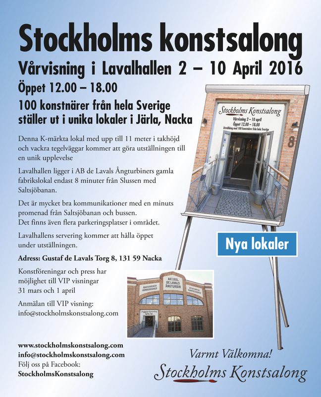 Stockholms konstsalong. Juried exhibition w/ 100 artists. 2016