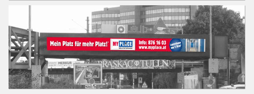 Werbebanner Wien 13 West-Einfahrt MyPlace - SelfStorage