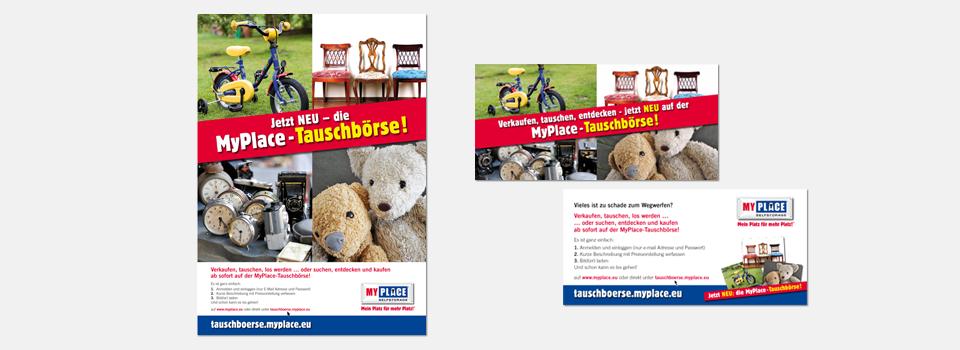 """Poster und Flyer Aktion """"Tauschbörse"""" MyPlace - SelfStorage"""