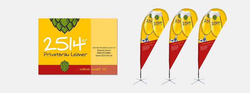 Schild und Beachflag - 2514er Bier auf den ersten Blick