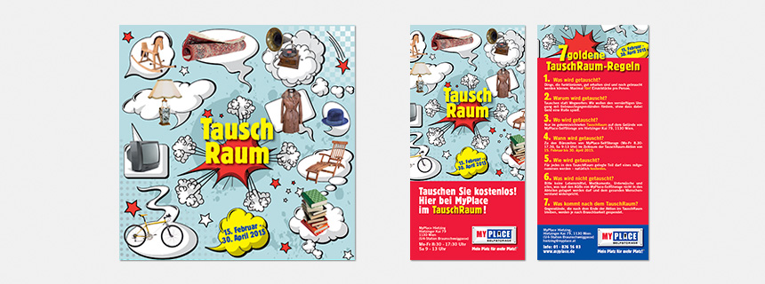 """Poster und Flyer Aktion """"Tauschraum"""" MyPlace - SelfStorage"""