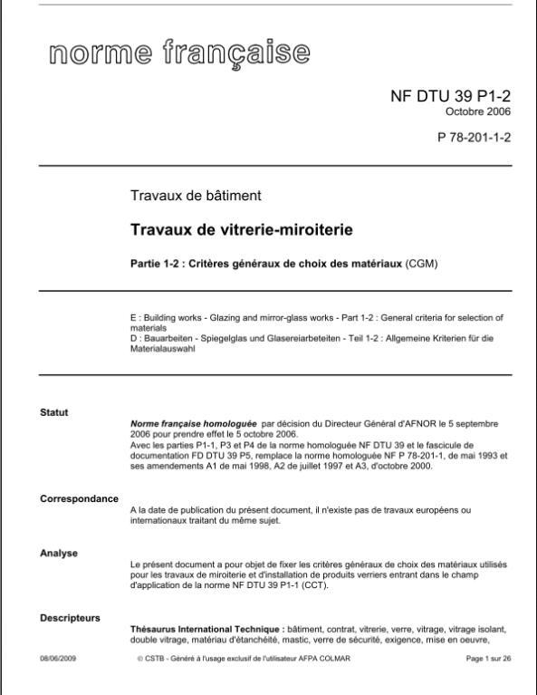 GRATUITEMENT DTU 36.5 TÉLÉCHARGER