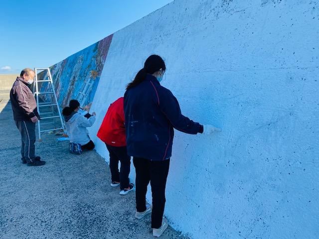 【加唐島】加唐小中学校 壁画アートの制作