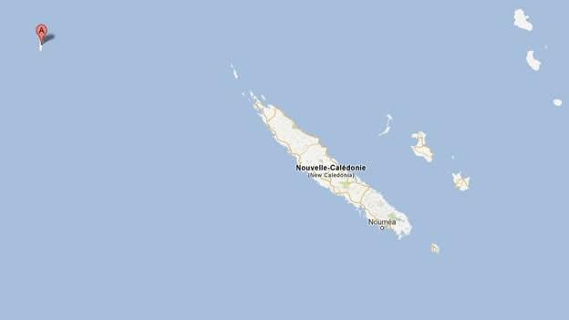 La supuesta isla 'Sandy' estaba al noroeste de Nueva Caledonia, en el Mar de Coral cercano a Australia (Tomado de Google Maps).