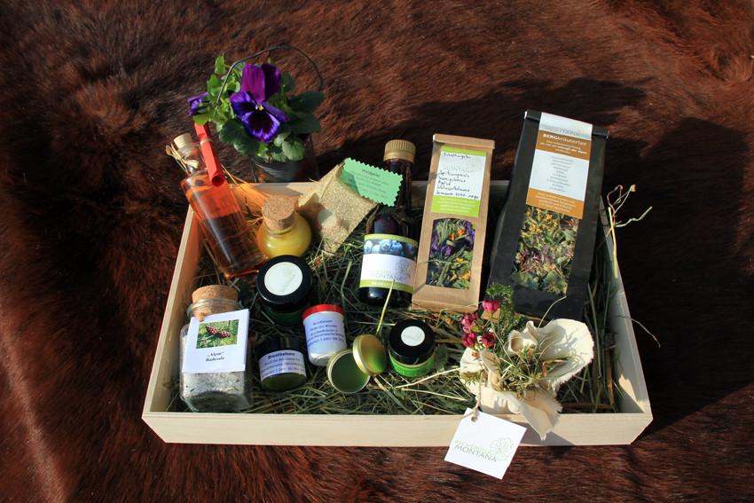 Geschenbox  Gesundheit gemischt mit Körperpflegeprodukten